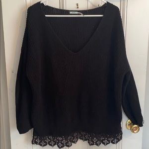 Urban outfitters black sweater w/ bottom lace
